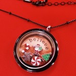 Black memory locket with rose gold believe locket plate and Christmas floating charms