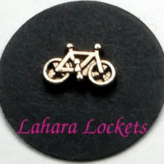 This floating charm is a gold bicycle.
