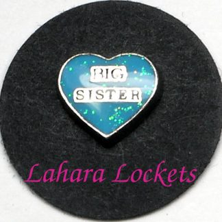 This floating charm is a blue heart that says big sister.