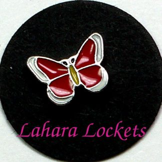 This floating charm is a red butterfly with white tipped wings and is compatible with all memory lockets.