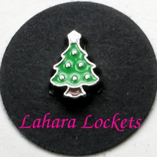 This floating charm is a green, Christmas tree with silver ornaments and star on the top.