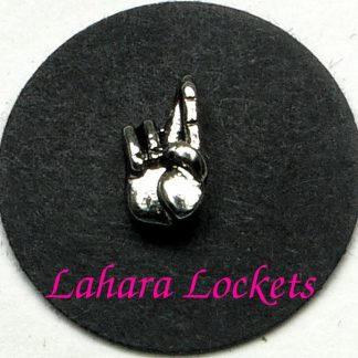This floating charm is a silver hand with crossed fingers to signify good luck.