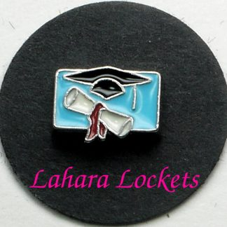 This floating charm is a blue rectangle with white diploma and black graduation cap on it