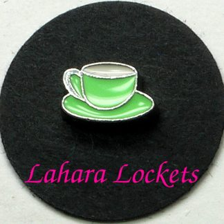 This floating charm is a mint green coffee cup on a saucer.