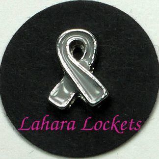 This floating charm is a grey ribbon.