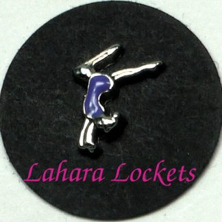 This floating charm is of a gymnast doing a handstand.