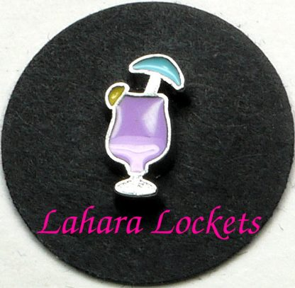 This floating charm is a purple, ice cream drink with a yellow lemon and blue umbrella.