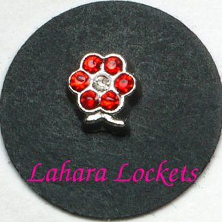 This floating charm is a silver flower with red birthstone gems.