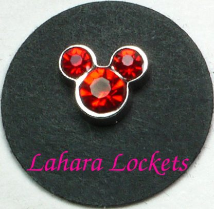 This floating charm is red July birthstones in the shape of Mickey Mouse.