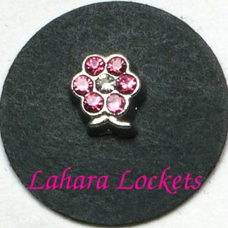 This floating charm is a silver flower with pink, June birthstone gems.