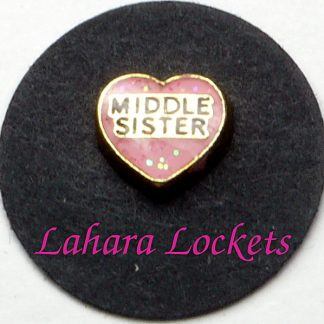 This floating charm is a pink heart that says little sister in black letters.