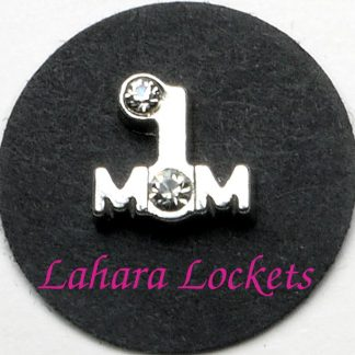 This floating charm is silver and says # 1 mom and has clear gems as the number symbol and the o.