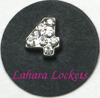 This floating charm is a silver, number four with clear gems.