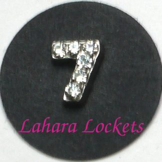 This floating charm is a silver, number seven with clear gems.