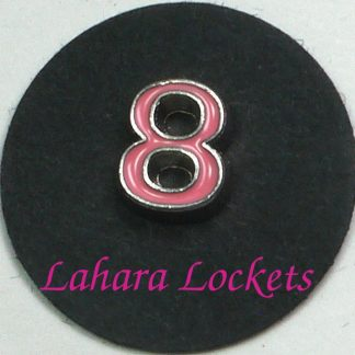 This floating charm is a pink, number eight.