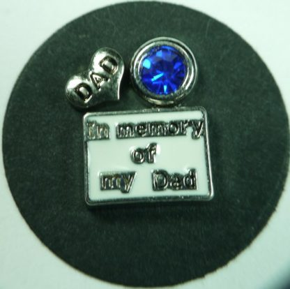 In Memory of My Dad Floating Charms for Memory Lockets