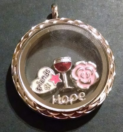 Silver locket with wine, pink flower, hope and friends floating charms