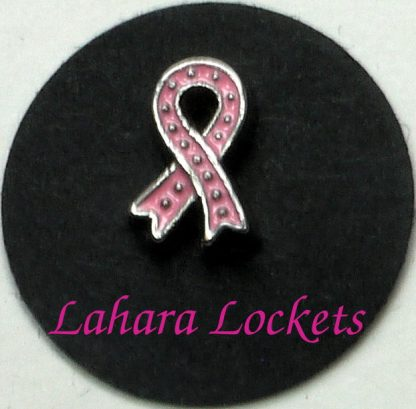 This floating charm is a pink ribbon with silver dots as decoration.