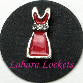 This floating charm is a red dress with clear gems at the waist.