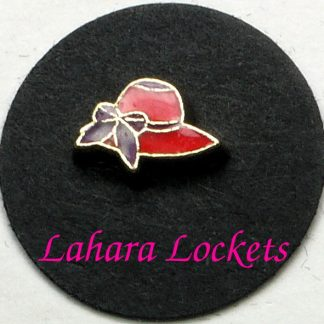 This floating charm is a red hat with purple bow and ribbon.