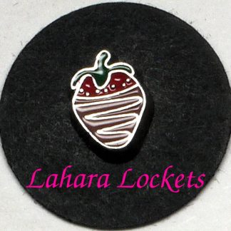 This floating charm is a red starwberry with green top dipped in brown chocolate.
