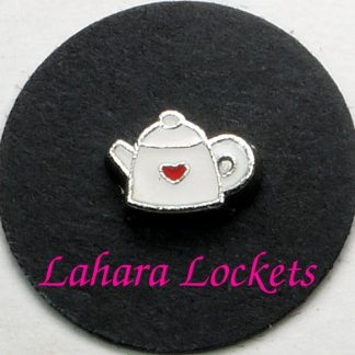 This floating charm is a white teapot with red heart accent.