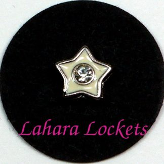 This floating charm is a white star with a clear gem in the center. Compatible with all memory lockets.