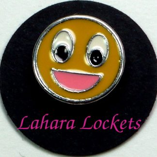 This circular floating charm is a large yellow smiley face and is compatible with all memory lockets.
