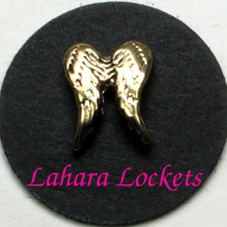 This floating charm is a pair of gold angel wings.