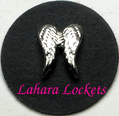 This floating charm is a pair of silver angel wings