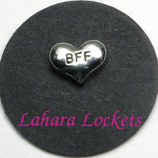 This floating charm is a silver heart that says bff.