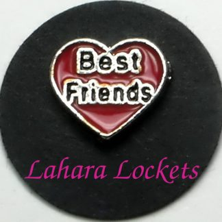 This floating charm is a red heart that says best friends in black lettering.