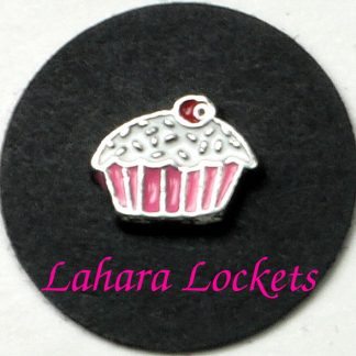 This floating charm is a cupcake with pink liner, white frosting and red cherry on top.