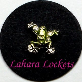 This floating charm is a metallic green frog with the shape of a heart on his back. Compatible with all memory lockets.