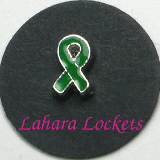 This floating charm is a green ribbon.