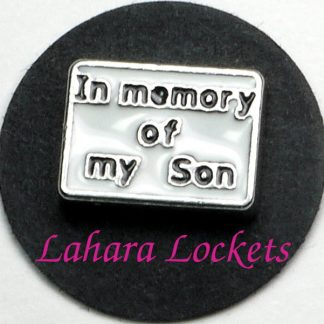 This floating charm is a white rectangle that says in memory of my son in black letters.