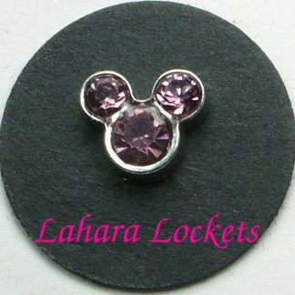 This floating charm is silver with pink, June birthstones in the shape of Mickey Mouse.