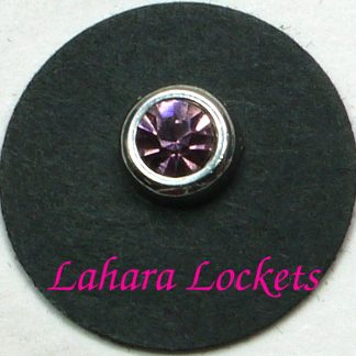 This round floating charm is silver with a pink, June birthstone.