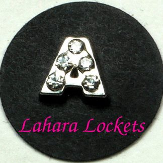 This floating charm is a silver letter A with clear gems.