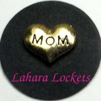 This floating charm is a gold heart that says mom in black letters.