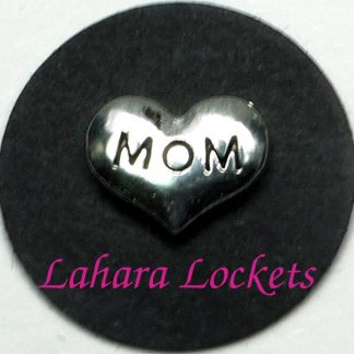 This floating charm is a silver heart that says mom in black letters.