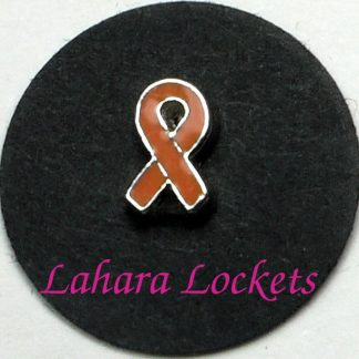 This floating charm is an orange ribbon.