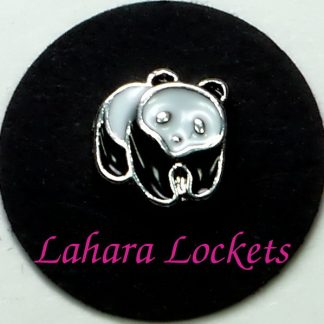 This floating charm is a black and white panda bear. Compatible with all memory lockets.