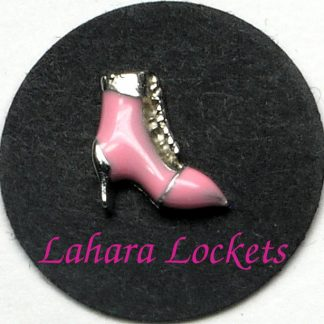 This floating charm is a pink, lace-up boot.