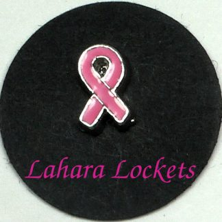 This floating charm is a pink ribbon.