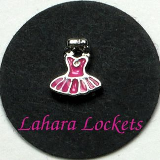 This floating charm is a pink tutu.