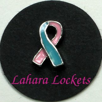 This floating charm is a pink and blue ribbon.