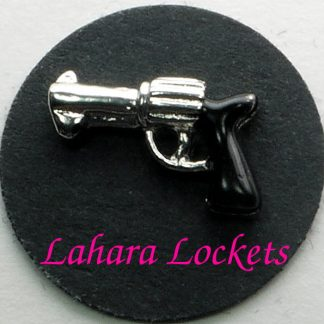 This floating charm is a silver revolver with a black handle.