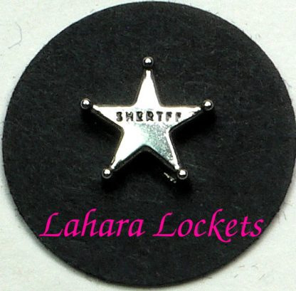 This floating charm is a silver star that says sheriff in black.