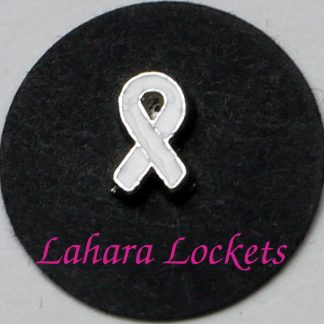 This floating charm is a white ribbon.